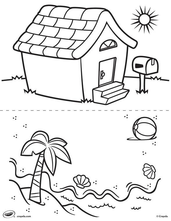 Kleurplaat Huis En Strand Crayola Nl