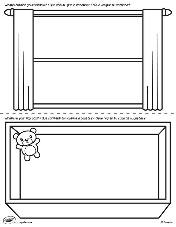 kleurplaat raam en speelgoedkist crayola nl