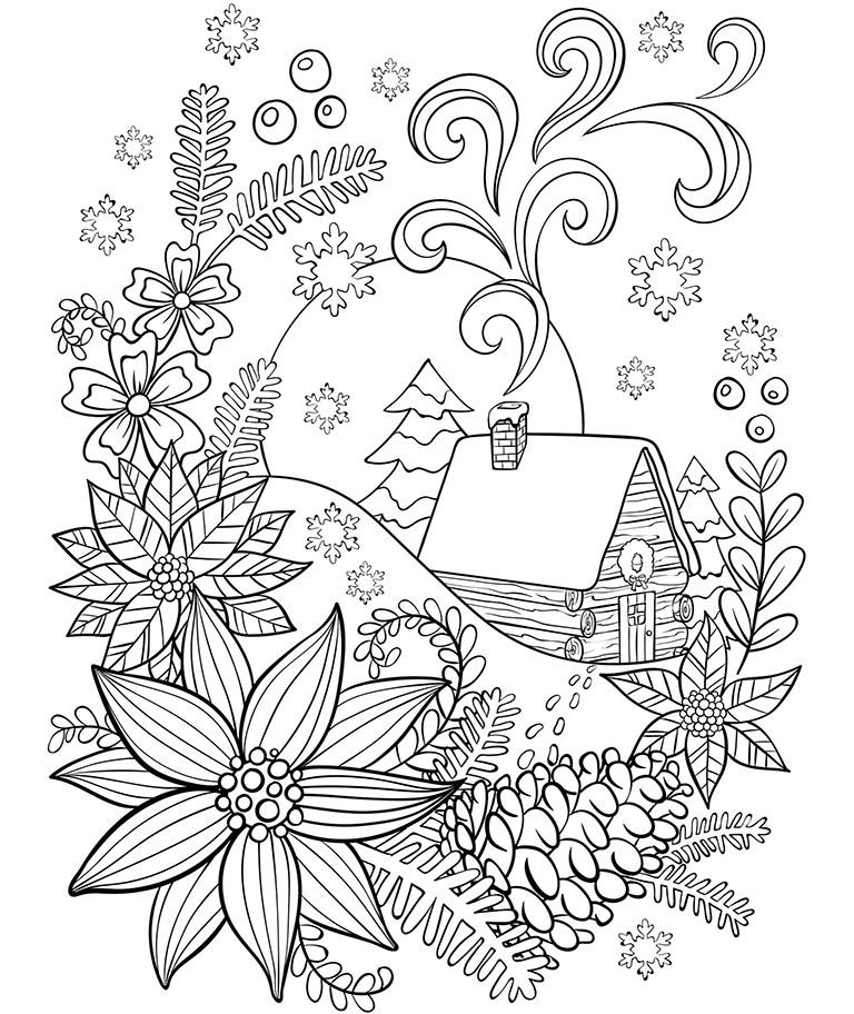 kleurplaat een hut in de sneeuw